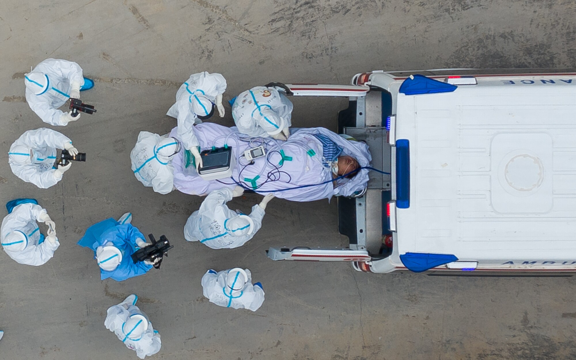Ambulances carrying patients in Wuhan, China