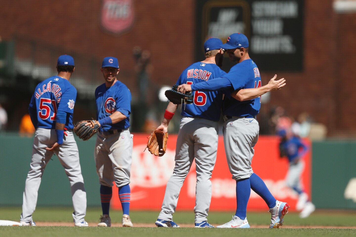 SAN FRANCISCO, CALIFORNIA - JUNE 06: Patrick Wisdom #16 and Anthony Rizzo #44 of the Chicago Cubs celebrate after their win against the San Francisco Giants at Oracle Park on June 06, 2021 in San Francisco, California. (Photo by Lachlan Cunningham/Getty Images)