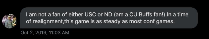 Colorado fan Matt Toepfer, from Longmont, Colo. comments on the USC-ND rivalry.