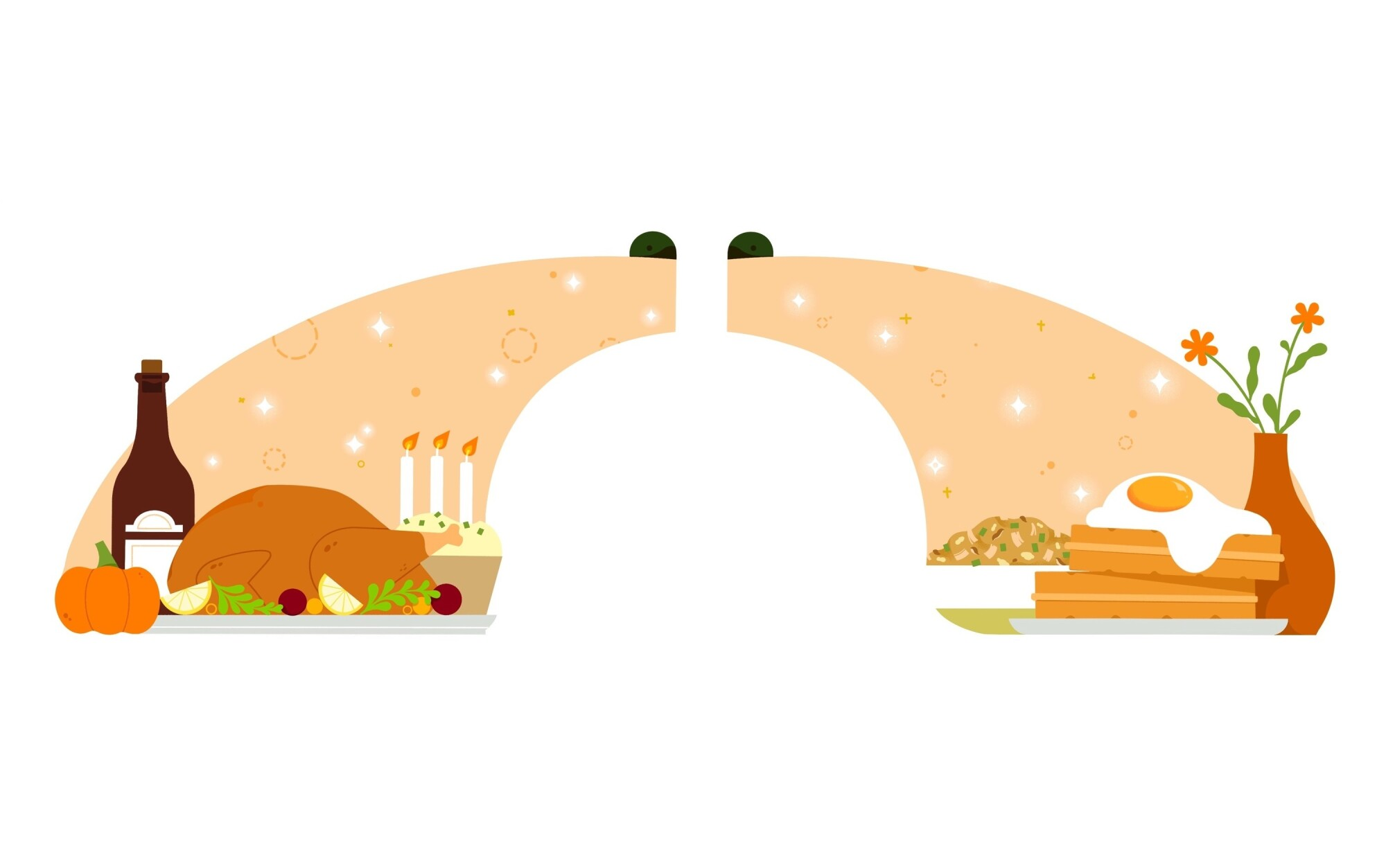 Illustration depicting Thanksgiving dinner becoming a breakfast of leftovers.