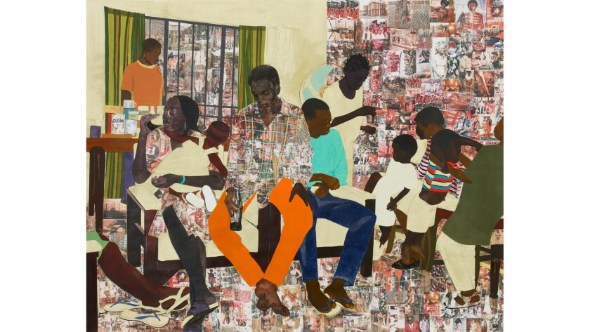 "Njideka Akunyili Crosby is a Nigerian-born artist known for detailed collages of intimate family scenes. Seen here: ""5 Umezebi Street, New Haven, Enugu,"" from 2012."