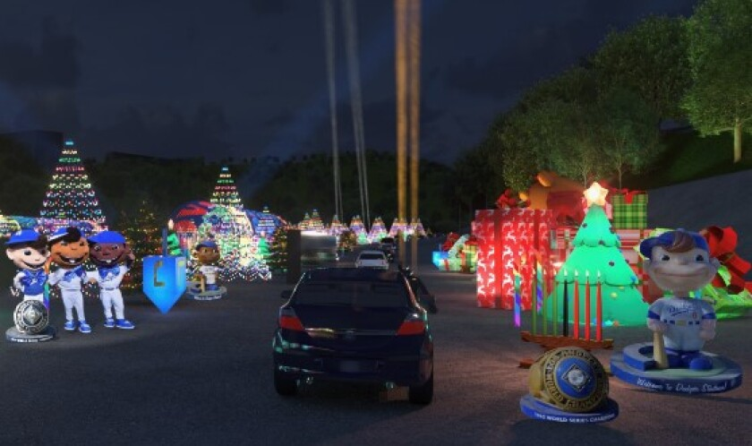 A rendering of the Dodgers drive-through festival with lighted trees, big gift boxes, standing figures in Dodger uniforms.