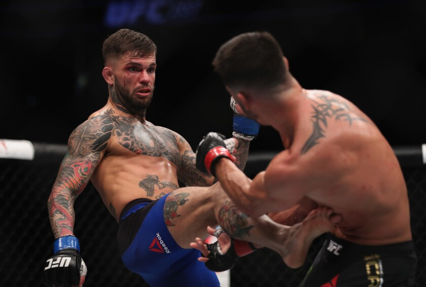 Cody Garbrandt, left, battles Dominick Cruz in the UFC bantamweight championship bout at UFC 207 on Friday in Las Vegas.