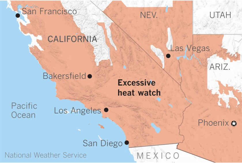 Map of Southwestern U.S. shows much of California, Nevada and Arizona under excessive heat watch