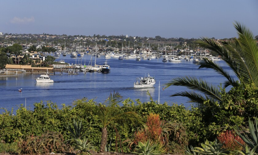 A man's body was found floating in Newport Harbor on Monday morning. Above, the harbor in September.