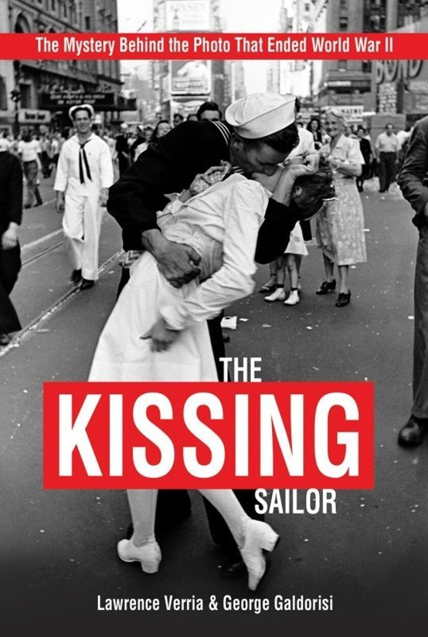 """Cover of """"kiss and tell"""" investigative book tracking down the mystery couple behind Alfred Eisenstaedt's iconic  WW II """"kissing sailor"""" photo."""