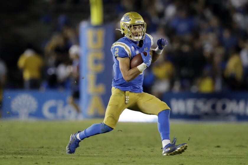 UCLA wide receiver Kyle Philips runs against Arizona State during the second half on Saturday at the Rose Bowl.