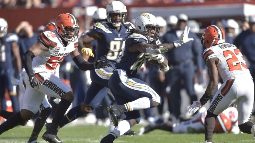 Los Angeles Chargers running back Melvin Gordon (28) in action during an NFL football game against t