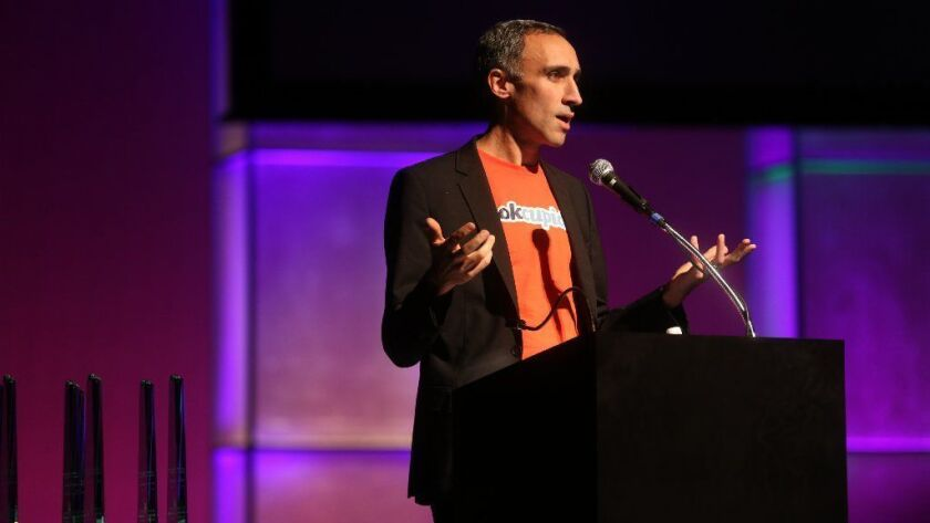 Sam Yagan, then CEO of Match Group, speaks after accepting the Visionary Award at the 2014 Chicago Innovation Awards at the Harris Theater in Chicago. Yagan now leads the ShopRunner e-commerce network.