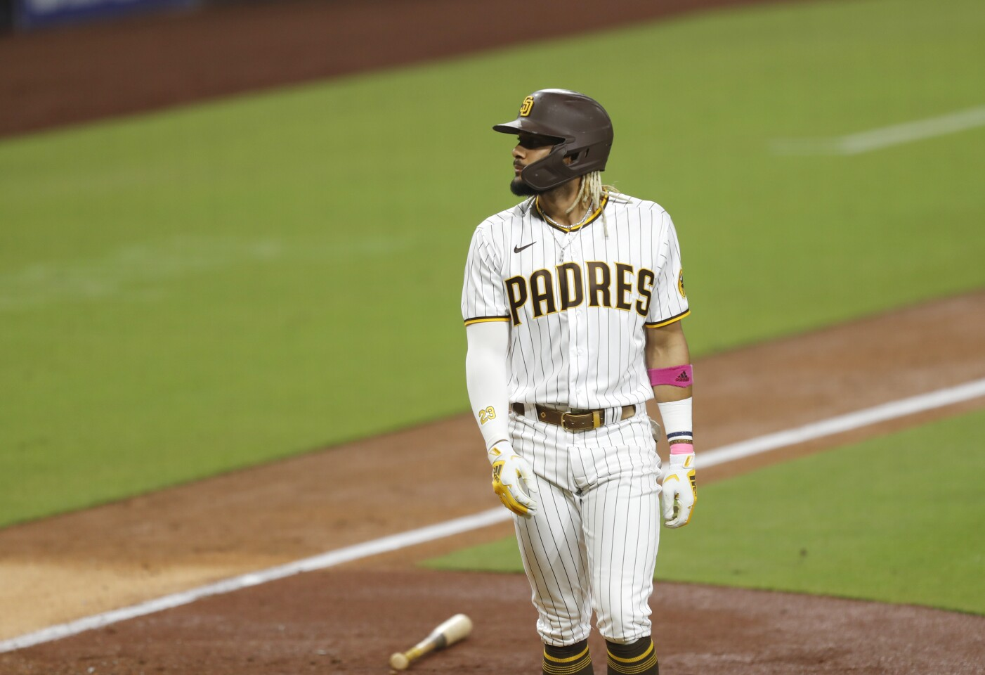 SAN DIEGO, CA - SEPTEMBER 15: Fernando Tatis Jr. of the San Diego Padres looks on after flying out in the 6th inning against the Los Angeles Dodgers at Petco Park on Monday, Sept.15, 2020 in San Diego, CA. (K.C. Alfred / The San Diego Union-Tribune)
