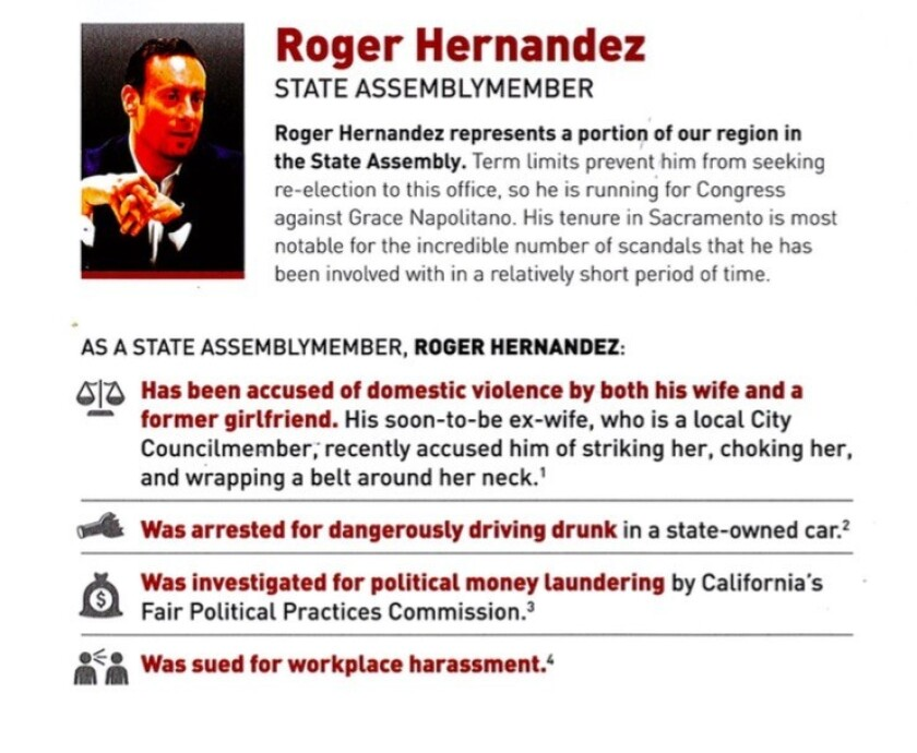 A political mailer attacking state Assemblyman Roger Hernández was paid for by Rep. Grace Napolitano's campaign.