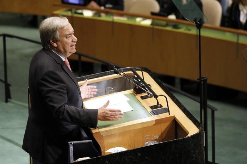 El secretario general de la ONU, António Guterres, pronuncia su discurso durante la apertura de los debates de la Asamblea General de Naciones Unidas, en la sede de la ONU en Nueva York, Estados Unidos. EFE/Archivo