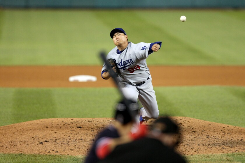 Hyun-Jin Ryu Starter Dodgers delivers against the Washington Nationals on 26 July.