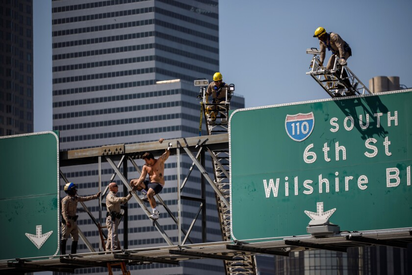 Publicity stunt triggers massive traffic jam in downtown L A  as rap