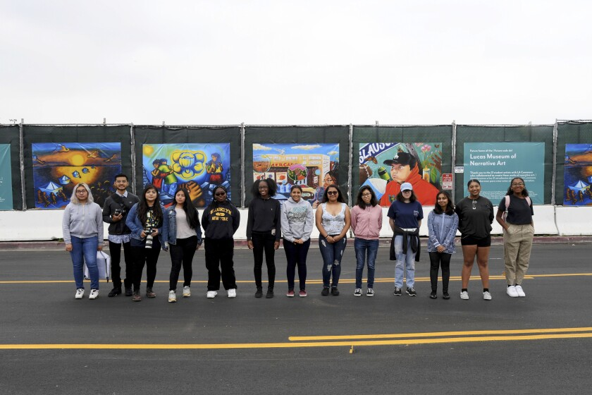 Participants of the Lucas Museum and LA Commons construction fence project, along Bill Robertson Lane.