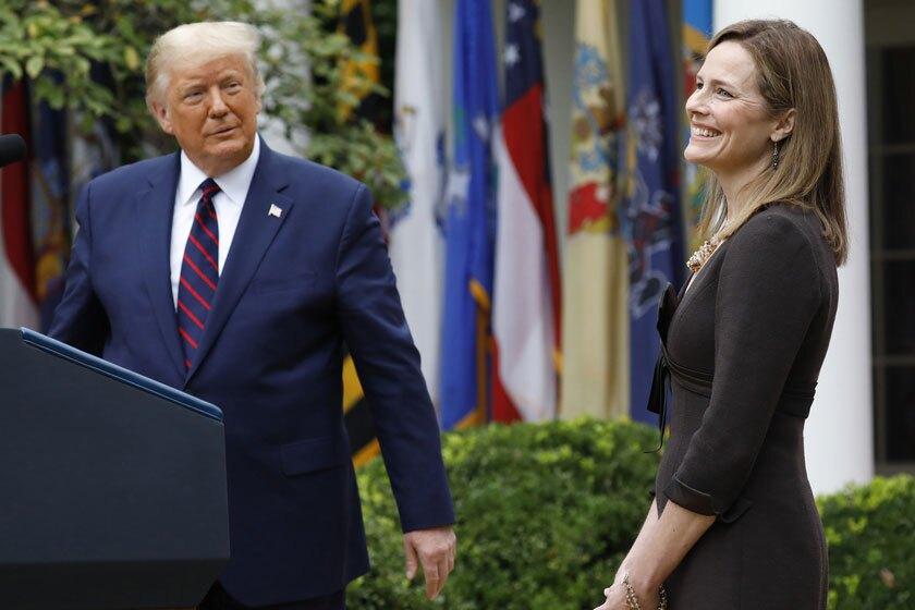 President Trump with Amy Coney Barrett.