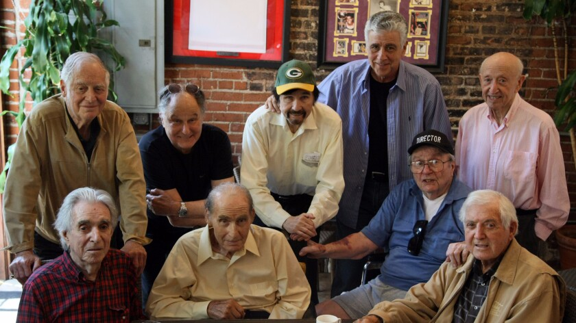 Veteran writers and directors gathered for lunch at Factor's Deli in Los Angeles on July 11, 2012. Back row, from left: Matty Simmons, Bud Friedman, Gary Owens, John Rappaport and Ben Starr. Front row, from left: Arthur Hiller, Sid Caesar, Rocky Kalish and Monty Hall.