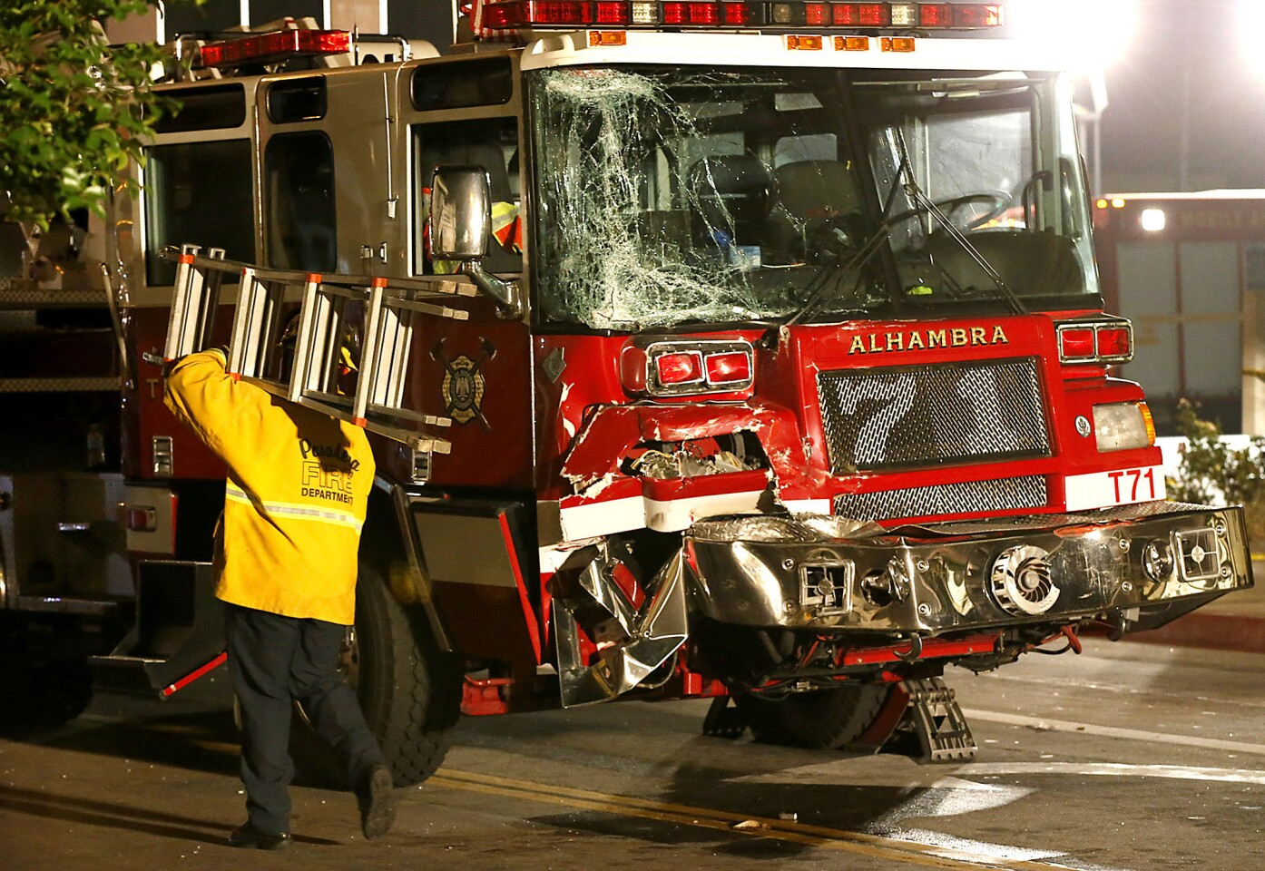 At least 15 people, including six firefighters, were injured Wednesday afternoon when two firetrucks collided in Monterey Park, causing one to smash into a small restaurant.