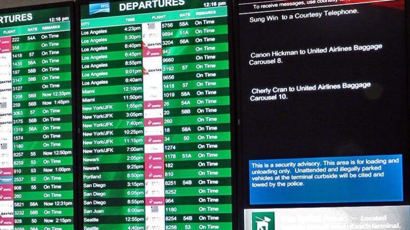 A visual paging screen at the San Fransisco International Airport's Terminal 2. Credit: SFO Paging,