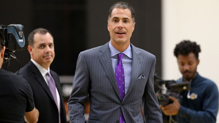 EL SEGUNDO, CALIF. -- MONDAY, MAY 20, 2019: Los Angeles Lakers Frank Vogel, left, head coach, and ge