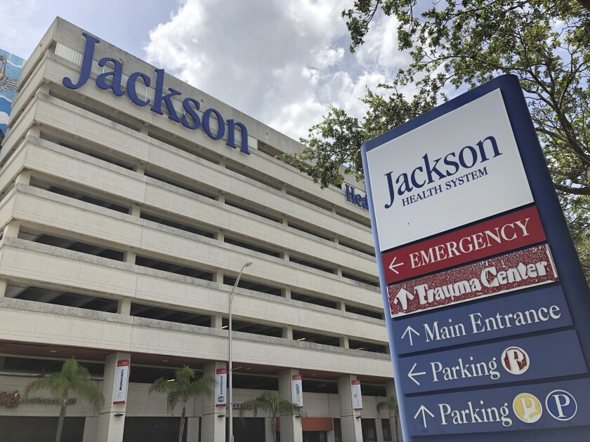 An entrance at Jackson Memorial Hospital in Miami