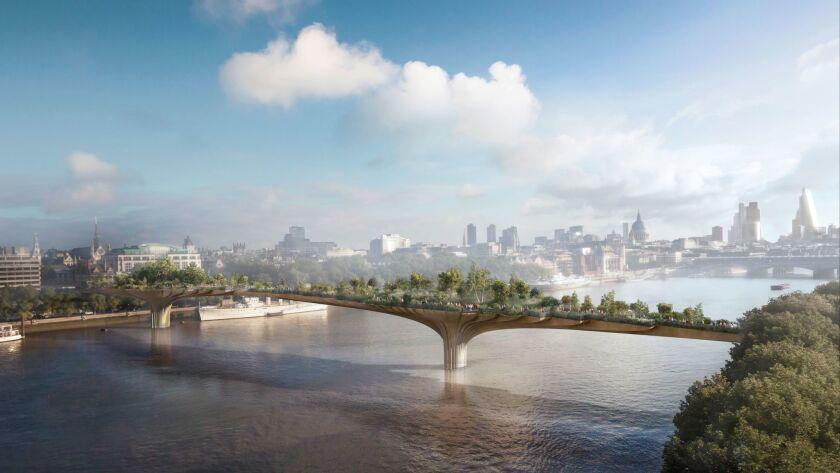 A rendering of London's proposed Garden Bridge, designed by architect Thomas Heatherwick.