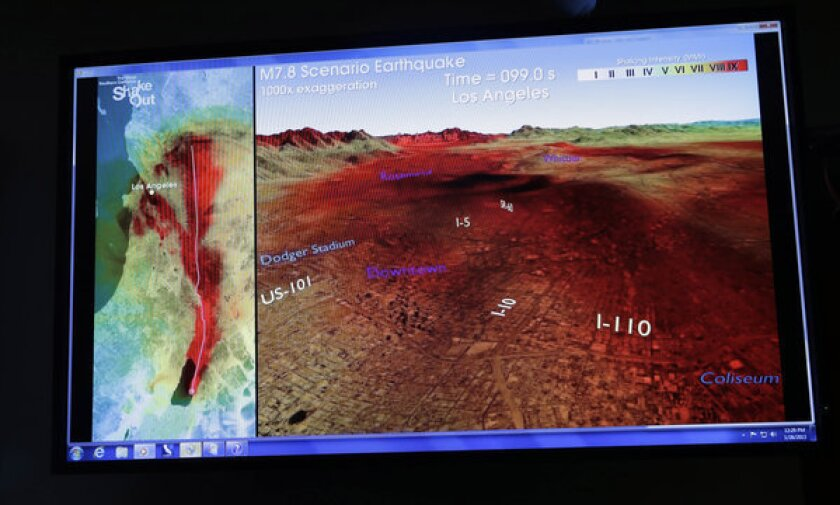 A computer-generated graphic is displayed at news conference in Pasadena to announce legislation to create an earthquake early warning system for California, similar to those in Japan and elsewhere.