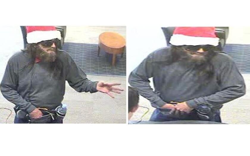 Solana Beach robber in Santa hat