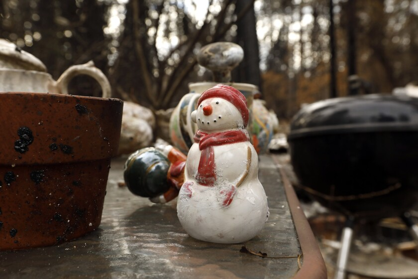 PARADISE, CALIFORNIA--DEC. 10, 2018--Just a few small items remain of the Christmas decorations that