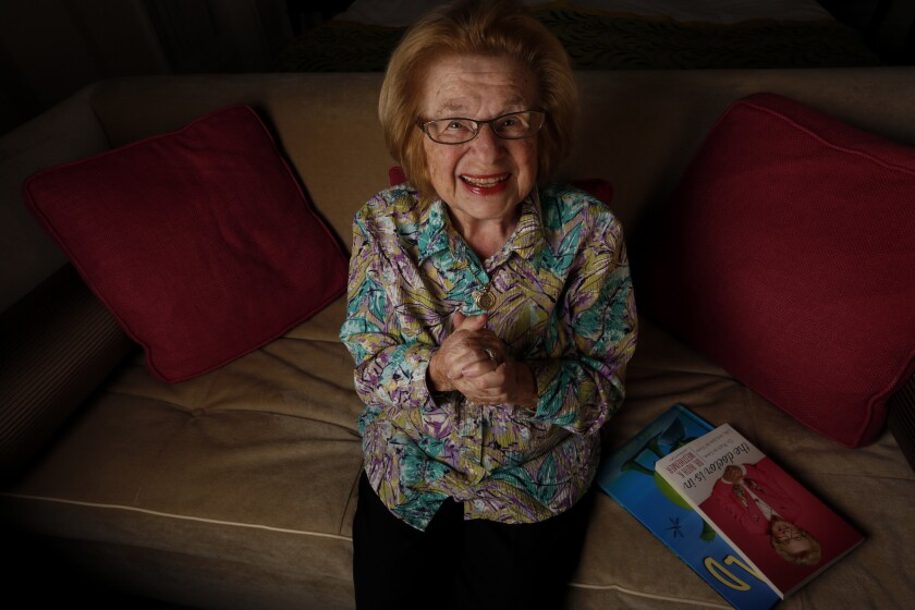 """Dr. Ruth Westheimer, shown in 2017, lost both parents in the Holocaust. She avoids politics, but feels she has a """"moral obligation"""" to speak up about refugees."""