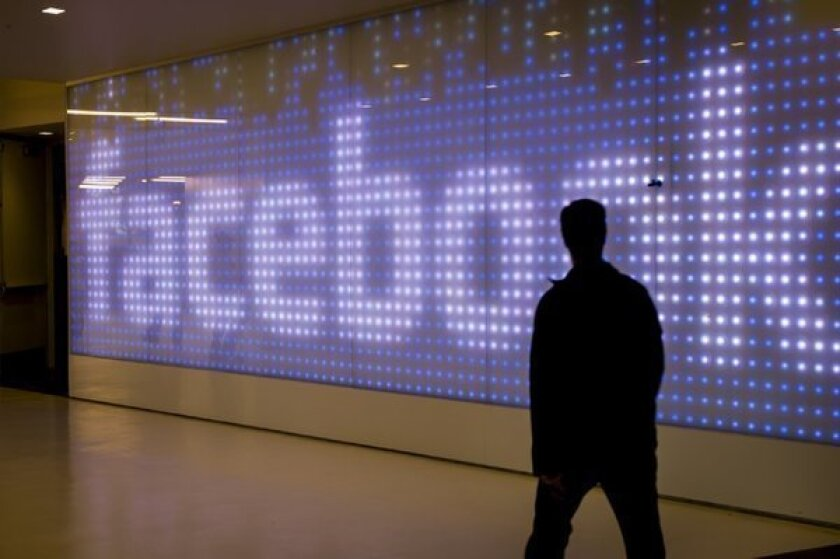 Facebook employee at the company's Menlo Park, Calif., headquarters.