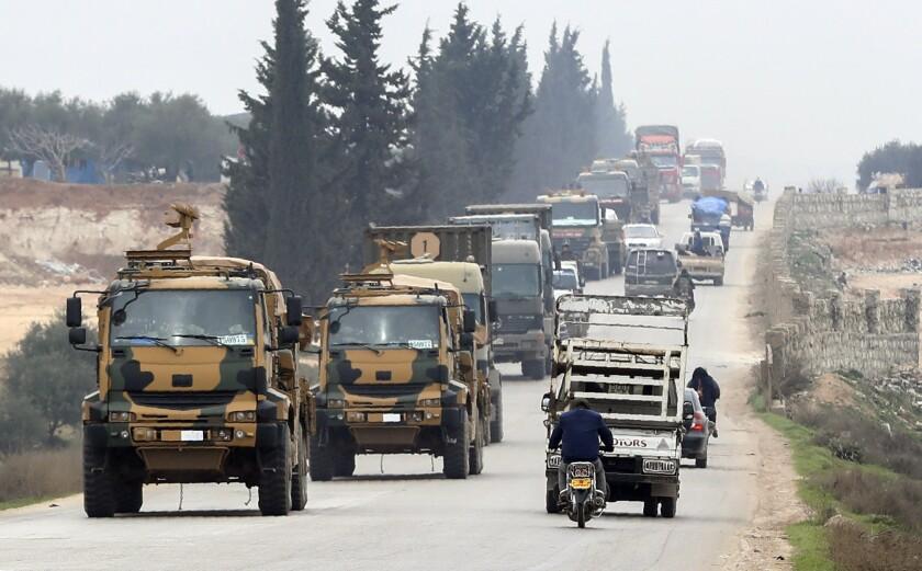 A Turkish military convoy near Idlib, Syria, on Feb. 29.