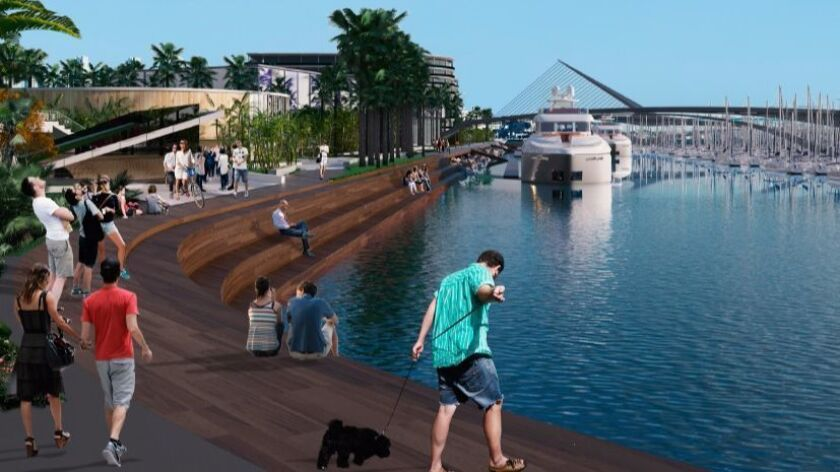 Sunroad's proposal for Harbor Island East redevelopment illustrates the new feeling and amenities planned.