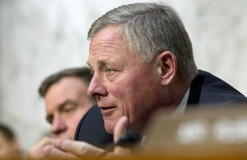 FILE - In this Jan. 29, 2019, file photo, Senate Intelligence Committee Chairman Sen. Richard Burr, R-N.C. speaks during a Senate Intelligence Committee hearing on Capitol Hill in Washington. A bipartisan group of U.S. senators is recommending the Trump administration form an interagency task force to monitor the use of social media platforms by foreign governments for signs of interference. (AP Photo/Jose Luis Magana, File)