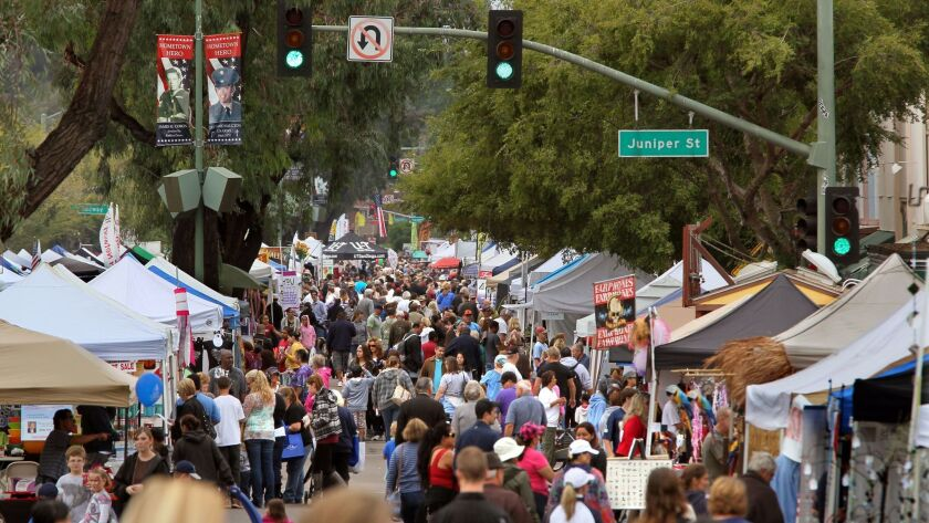 The crowd fills Grand Avenue in downtown Escondido.