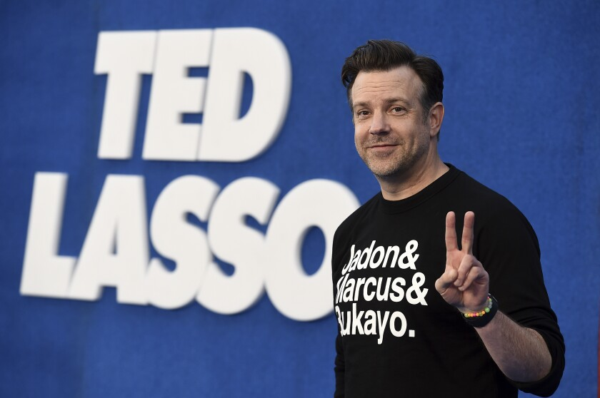 """Jason Sudeikis arrives at the premiere of the second season of """"Ted Lasso"""""""
