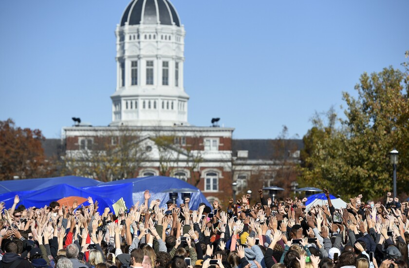 Thousands gather on Mizzou quad after university system president resigns