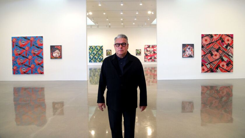 """Painter Lari Pittman at Regen Projects with canvases from his latest series, """"Portraits of Textiles & Portraits of Humans."""""""