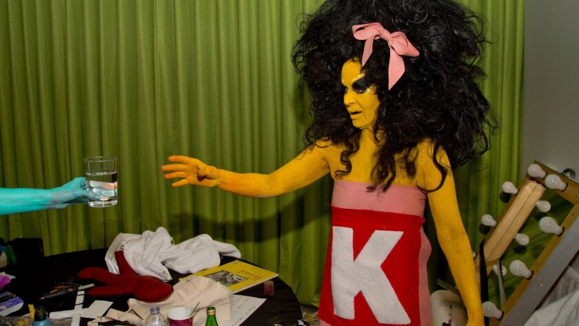 "Performance artist Kembra Pfahler backstage during the first of the Broad museum's ""Summer Happening"" series."