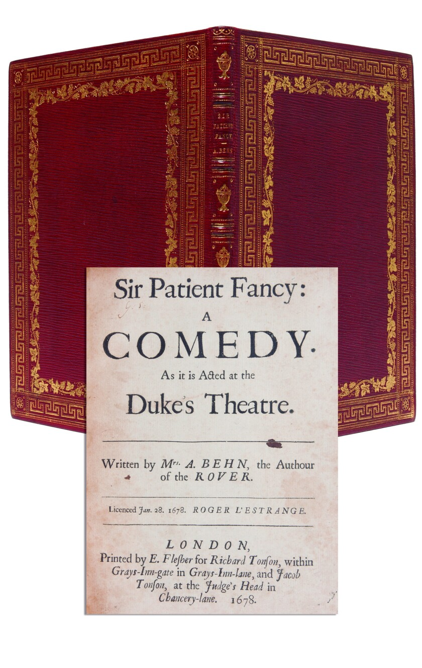"A 1678 first edition of ""Sir Patient Fancy: A Comedy"" by Aphra Behn is among the finds in the catalog By Her Own Hand from Whitmore Rare Books."