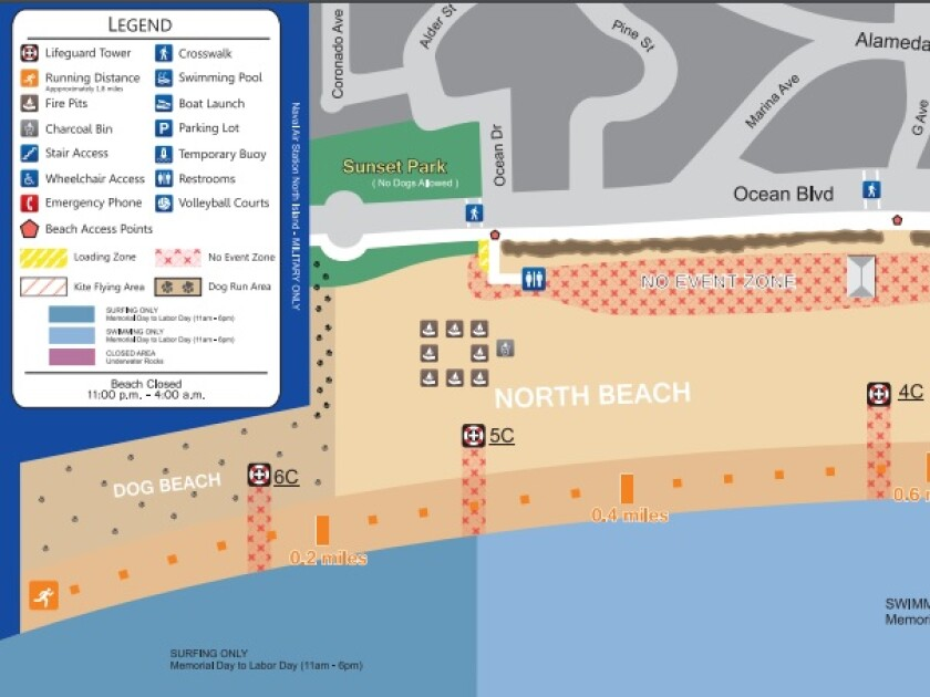 This map shows Dog Beach in Coronado, near lifeguard tower 6C, where a city lifeguard truck ran over a young girl in an accident Monday evening.
