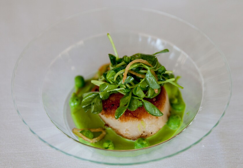 "A scallop and pea dish that will be served at a ""Selected Shorts"" performance this weekend at The Getty Museum."