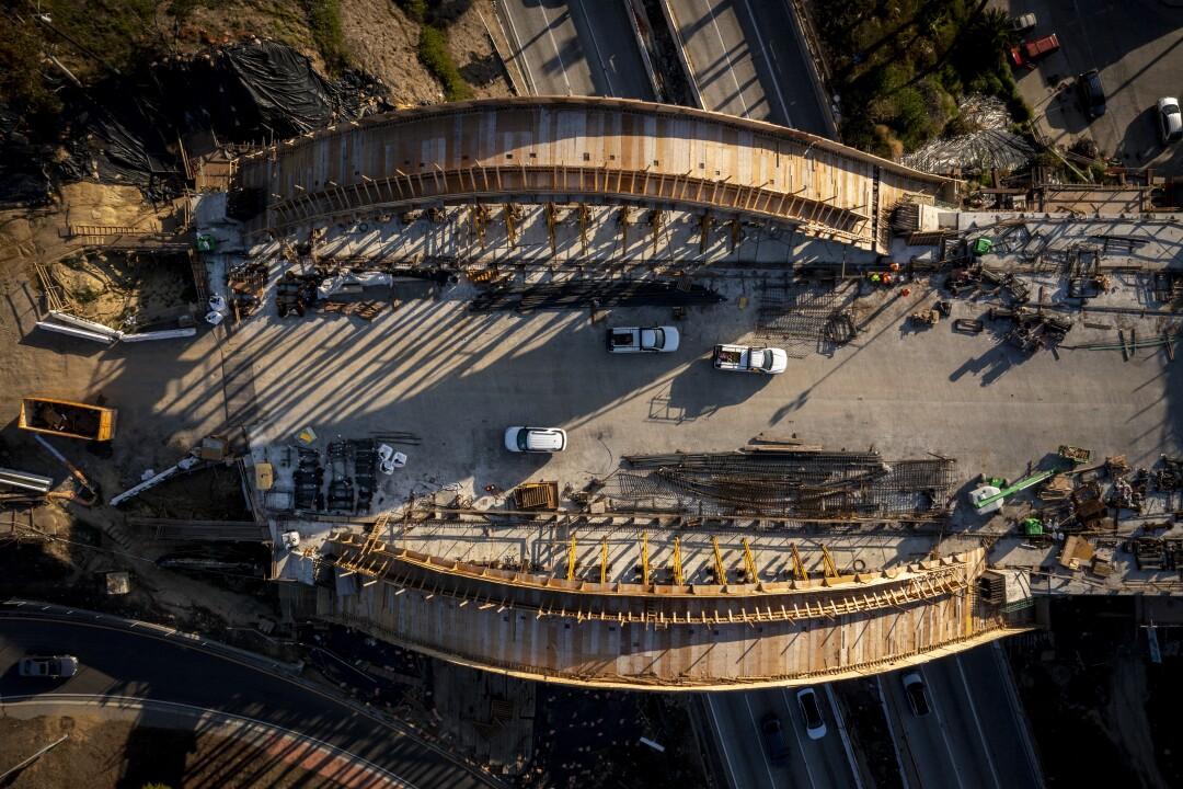 Bird's-eye view of partially rebuilt section of the bridge
