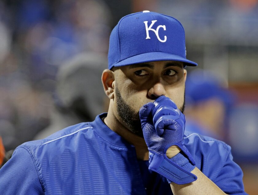 Kansas City Royals' Kendrys Morales warms up before Game 3 of the Major League Baseball World Series against the New York Mets Friday, Oct. 30, 2015, in New York. (AP Photo/David J. Phillip)