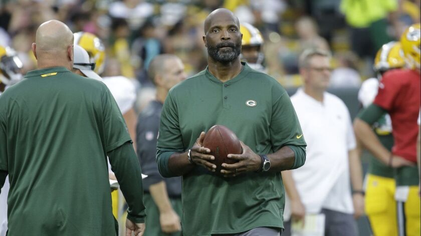 Green Bay Packers associate head coach Winston Moss during NFL football Family Night practice Saturd