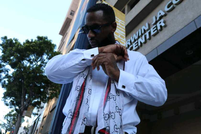Morrell Coleman, aka The Toven, stands outside of the San Diego Symphony.