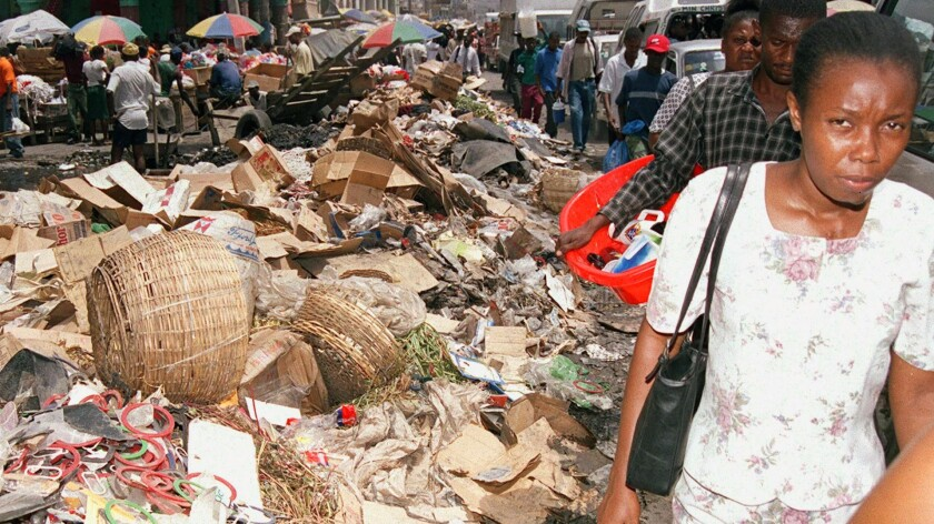 Garbage litters the street of Haiti's capital, Port-au-Prince, in this 2003 photo. Haiti is one of the poorest countries in the world.