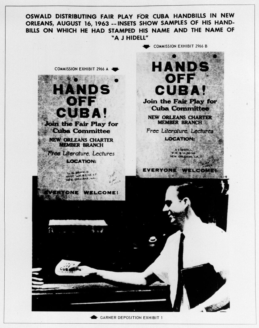 """FILE - This Sept. 26, 1964 file photo shows one of the exhibits contained in the Warren Commission report on the assassination of President John F. Kennedy. The commission said the handbills in the image were samples of ones on which Lee Harvey Oswald had stamped his name and the name """"A.J. Hidell"""""""