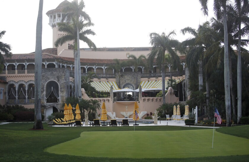 This Saturday, April 15, 2017, file photo shows President Donald Trump's Mar-a-Lago estate in Palm Beach, Fla. The Trump Organization asked the federal government on July 20, 2017, to grant dozens of special visas to foreign nationals to work at two of the President Donald Trump's private clubs in Florida, including his Mar-a-Lago resort.