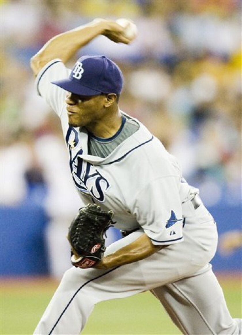 Tampa Bay Rays starting pitcher Edwin Jackson pitches during second inning in a baseball game against the Toronto Blue Jays in Toronto on Wednesday, July 30, 2008. (AP Photo/The Canadian Press,Frank Gunn)